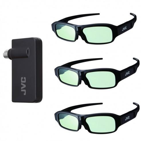 Pack Emetteur + 3x paires de lunettes 3D JVC pour X35, X55, X75 et X95